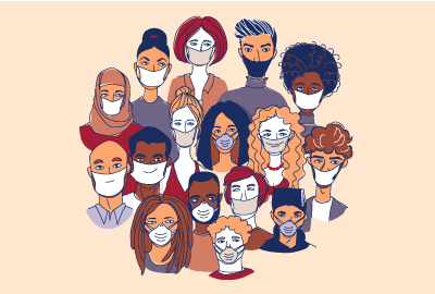 Illustration of people wearing face coverings