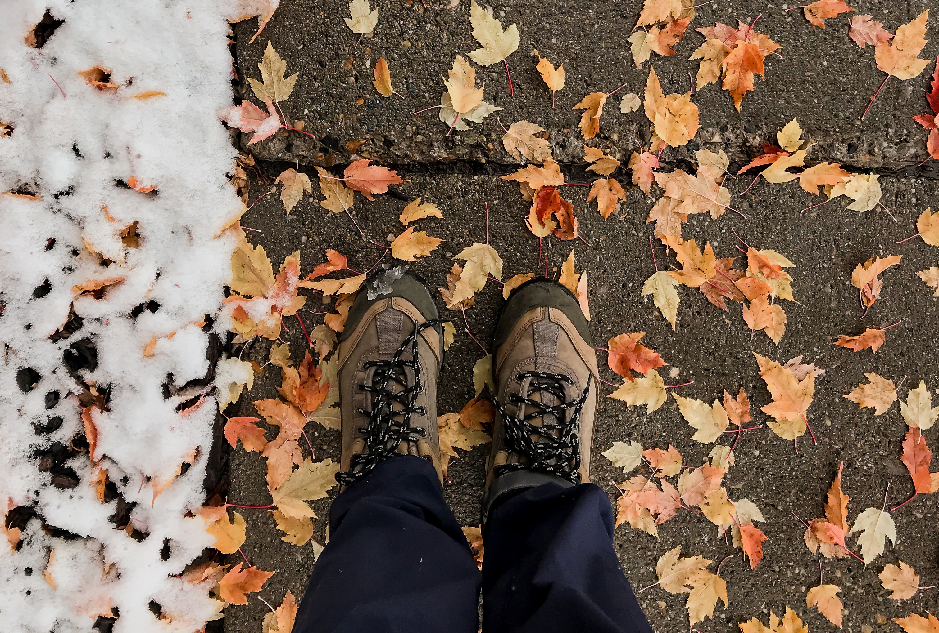 Person standing on a sidewalk covered with leaves and snow