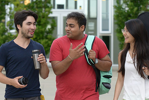 Smiling students on campus