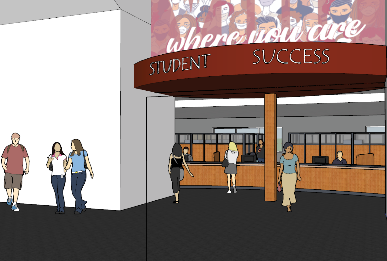 Rendering of Gaspard Building remodel project
