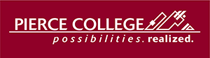 1 color pierce college logo in white on maroon background