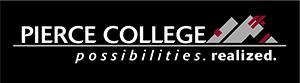 Pierce college logo on black background
