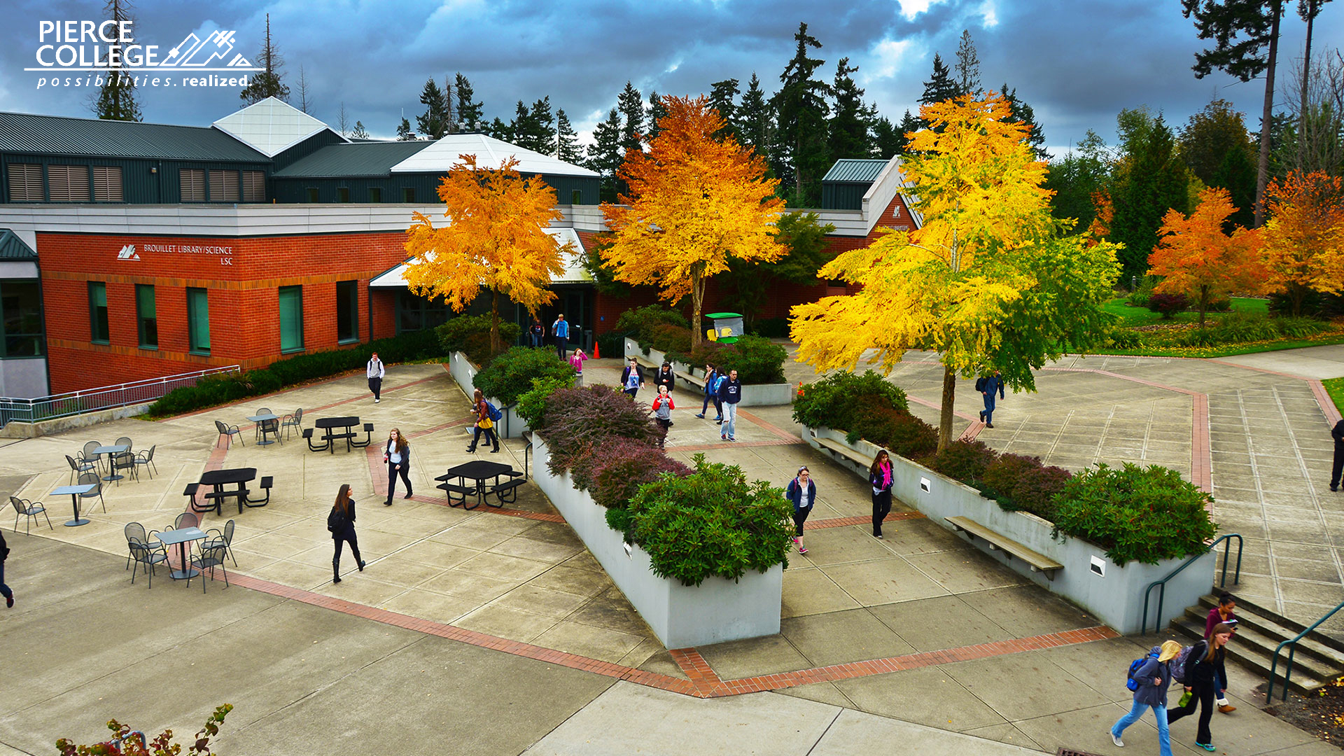 Students walking on the Puyallup campus