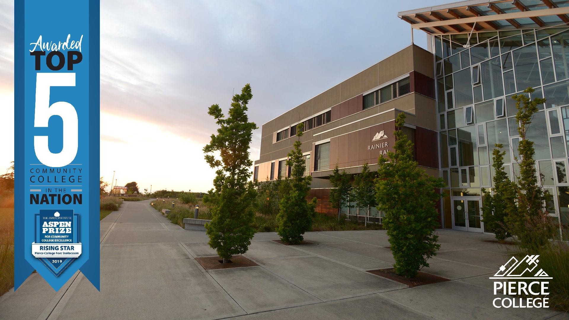 Aspen Prize Top Five Community College logo and Rainier Building, Fort Steilacoom campus