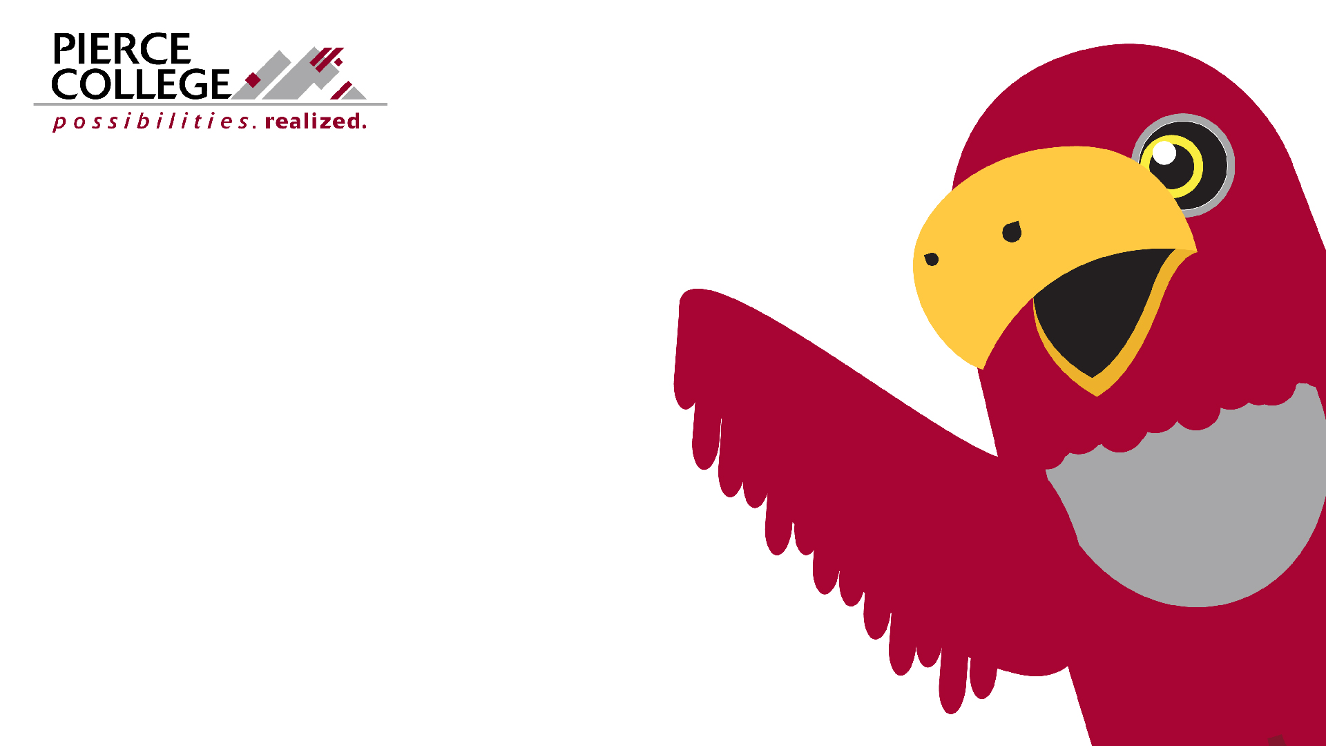 Illustration of the Pierce College Raiderbird mascot