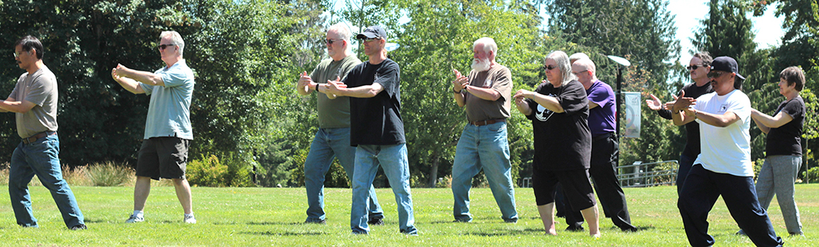 students in tai chi class