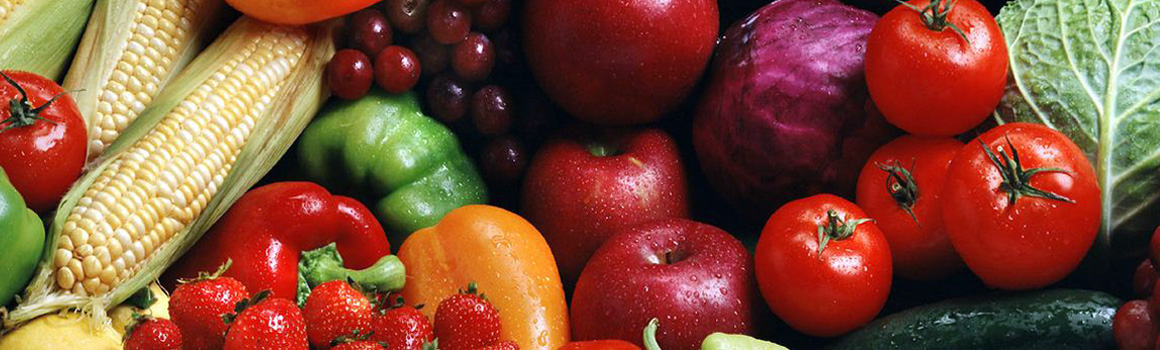 array of fruits and vegetables