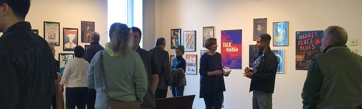 people at an art exhibit in the fort steilacoom art gallery