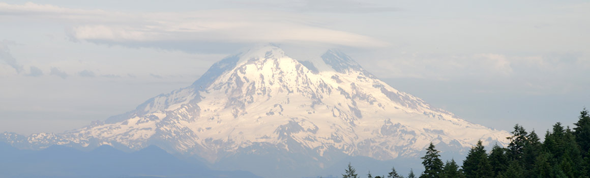 Mount Rainier as seen from Pierce College Fort Steilacoom