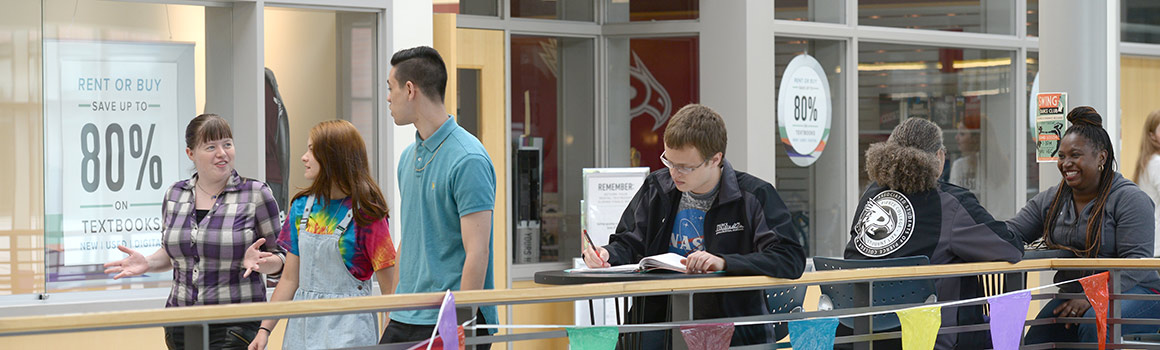 Students walking by Pierce College Puyallup bookstore