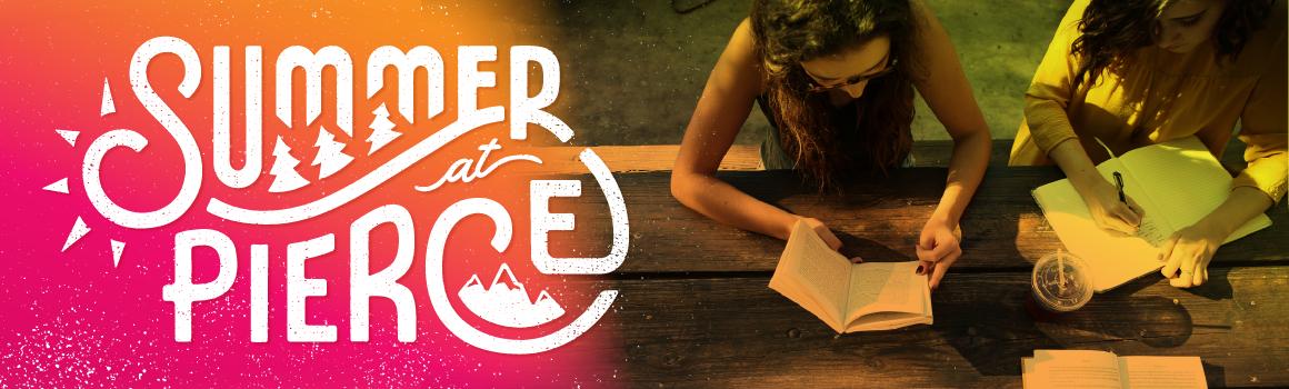 summer at pierce logo over students reading at picnic table
