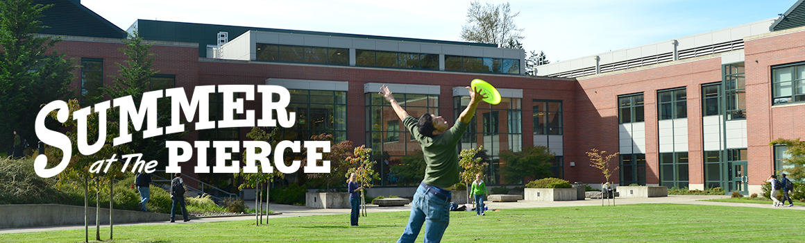student playing frisbee on lawn in front of puyallup college center building with summer at the pierce logo overlay on photo
