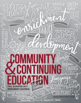 cover of community and continuing education fall 2017 schedule with hand-lettered words on a chalkboard