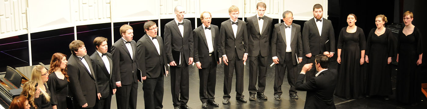 Pierce College choir performing on stage