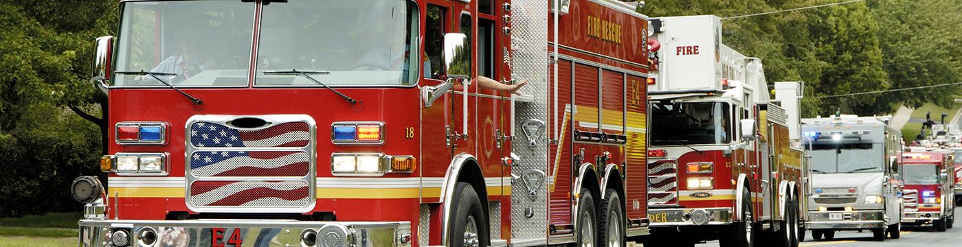 caravan of fire trucks