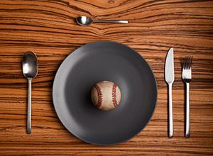baseball on a dinner plate