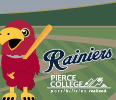 illustration of the red pierce college raider bird standing in a baseball field holding a bat, with the rainiers and pierce college logos