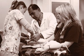 veterinary technology students and professor examining a dog