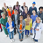 group photo of workers in many different professions