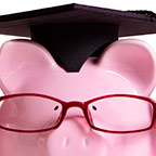 piggybank wearing glasses and a graduation cap