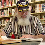 Veteran studying in the library