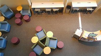 aerial view of makerspace lounge with tables and chairs