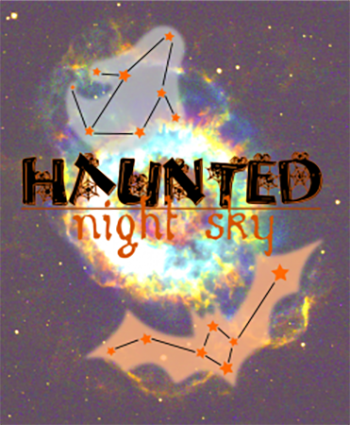 illustration of constellations with text haunted night sky