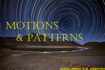 circular pattern in a night sky over a desert with text motions and patterns
