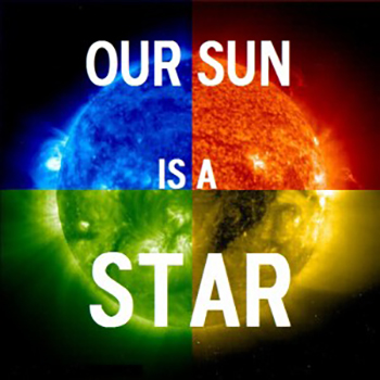 sun image with blue red green and yellow color blocks and text our sun is a star