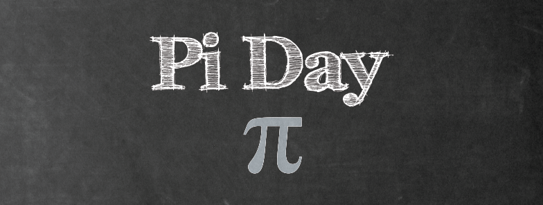 pi day text and pi symbol on chalkboard