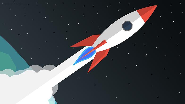 illustration of rocket leaving a planet