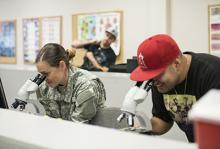 veteran students in a classroom