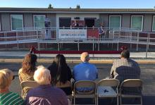 Chancellor Michele Johnson speaking to the crowd at Pierce College at Spanaway ribbon cutting ceremony