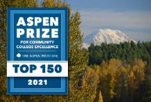 2021 Aspen Prize logo superimposed on a campus photo of Mount Rainier