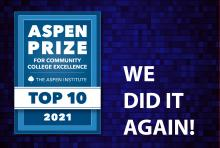 2021 Aspen Prize for Community College Excellence Top 10 logo