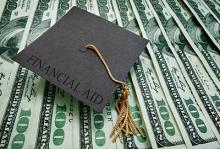 Illustration of graduation cap on top of money