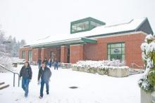 snowy college center building