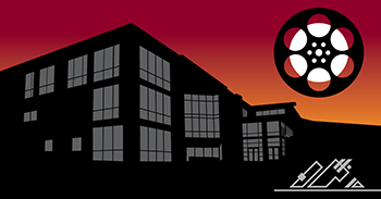 illustration of pierce college cascade building at night and film reel