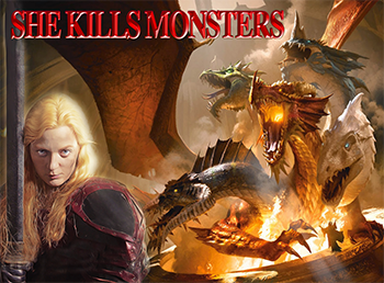 illustration of dragon slayer and dragons and she kills monsters title