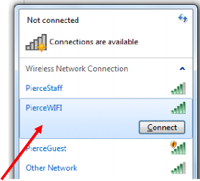 PierceWIFI on Connections menu