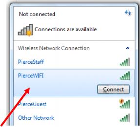 PierceWIFI on Connections menu